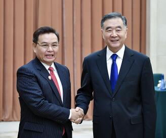 全国政协主席汪洋与老挝建国阵线中央主席赛颂蓬举行会谈