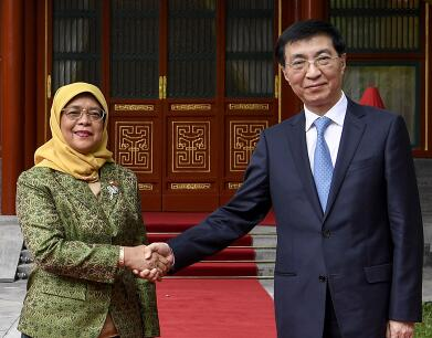 王沪宁会见新加坡总统哈莉玛